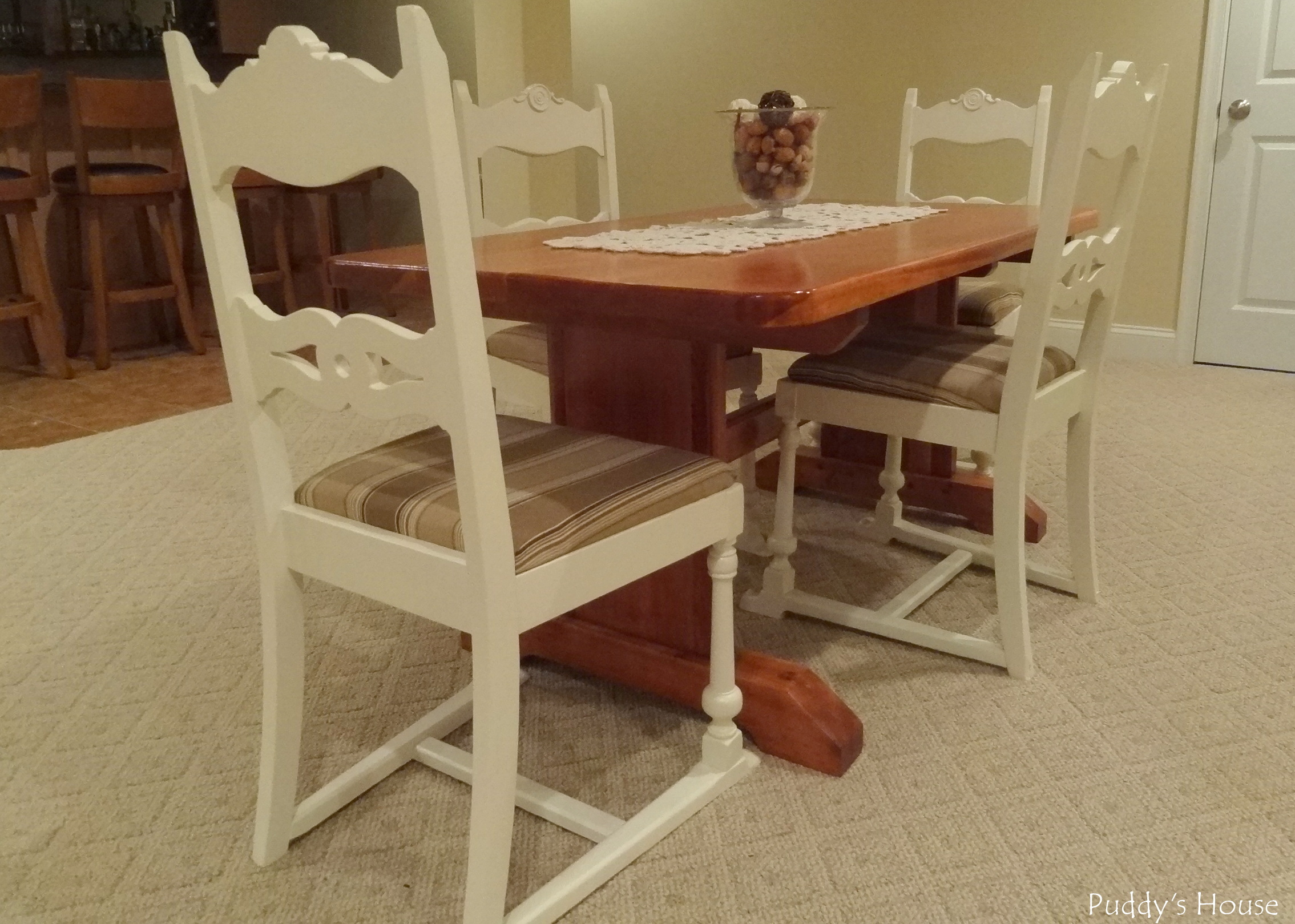 Basement - Stained Table Painted and Reupholstered Chairs