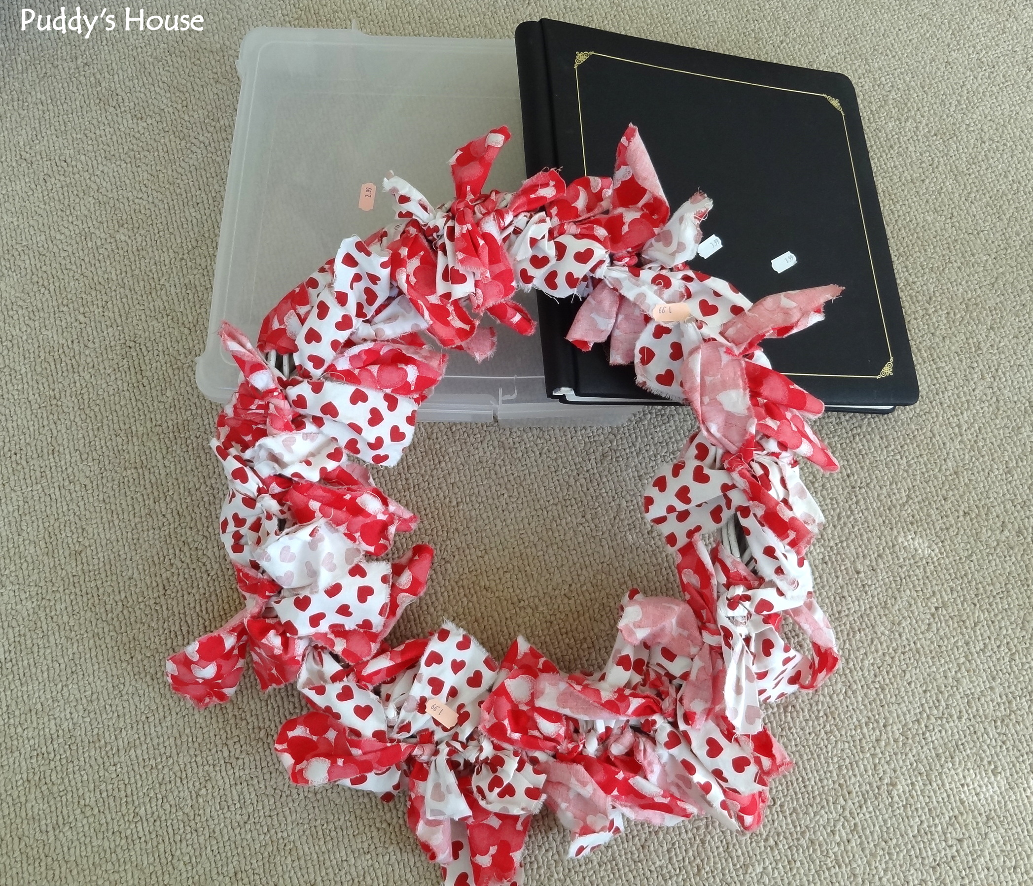 Thrift Shopping - scrapbook - paper holder  and wreath from salvation army