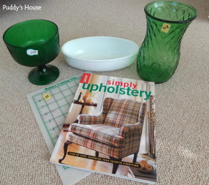 Thrift Shopping - vases cutting mat and book