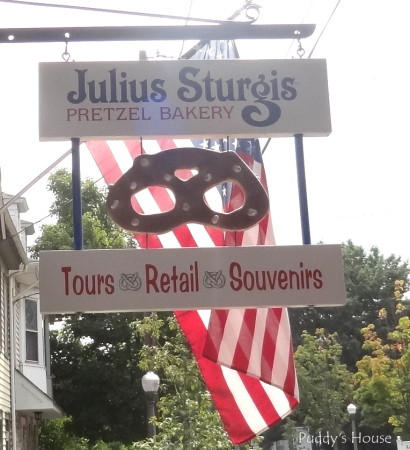Sturgis Pretzels -Julius Sturgis with flag