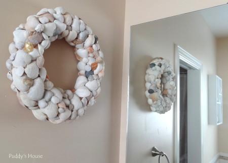 DIY Seashell Wreath - side view hanging
