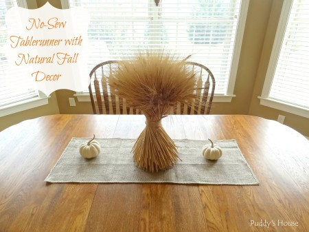 Fall - No-sew tablerunner with natural fall decor