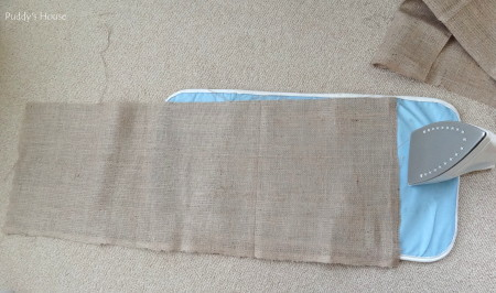 Fall - burlap tablerunner cut for ironing