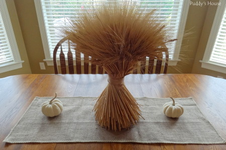 Fall - burlap tablerunner with wheat and white pumpkins