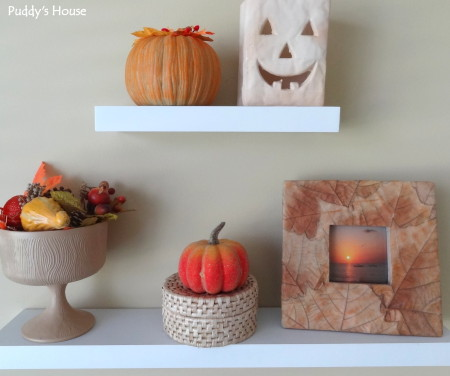 Fall Decorating - floating shelves in craft room