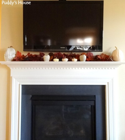 Fall Decorating - mantle decor in white with leaves