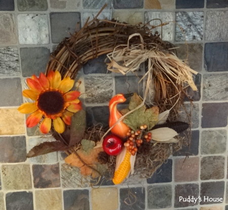 Fall Decorating -mom's wreath above stove