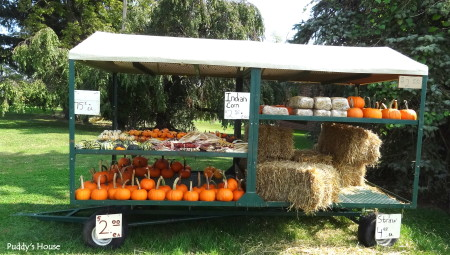 Fall Decorating  - pumpkin stand on wagon
