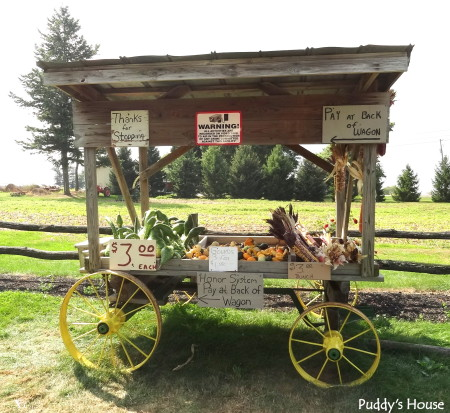 Fall Decorating - pumpkin stand wagon for paying