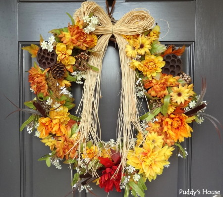 Fall Decorating - wreath on front door