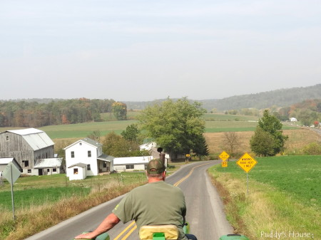 Tractor Ride - Dad leading with the amish farm and scenery