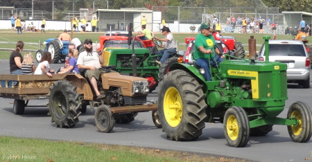 Tractor Ride - John Deere and brown tractor with wagon
