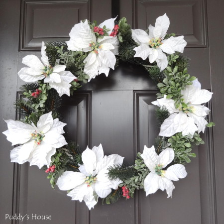 DIY Christmas Wreaths - White poinsettia grapevine wreath