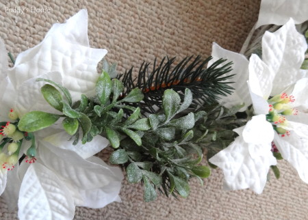 DIY Christmas Wreaths - attaching pine pieces to wreath