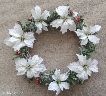 DIY Christmas Wreaths - berry stems and poinsettia attached