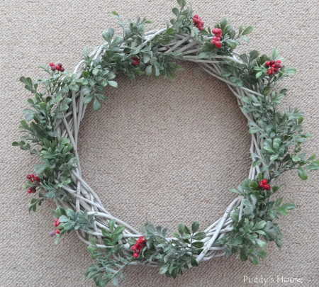 DIY Christmas Wreaths - berry stems attached to wreath