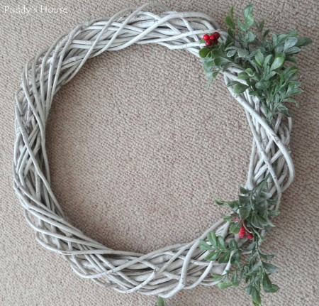 DIY Christmas Wreaths - first berry stems on wreath