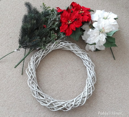 DIY Christmas Wreaths - grapevine wreath and flower supplies