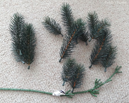 DIY Christmas Wreaths -  pine pieces removed from stem
