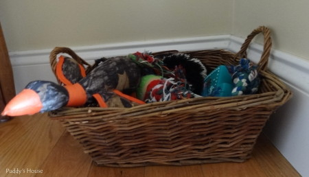 Dog supply organization - baskets for toy storage upstairs