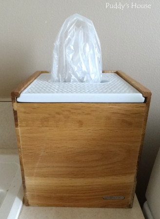 Dog supply organization - tissue box holder for doggie bags