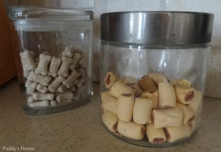 Dog supply organization - two old treat jars