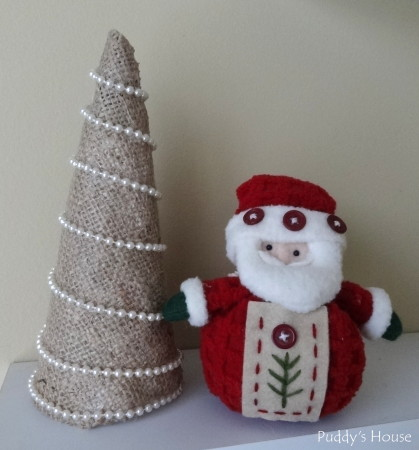 Easy DIY  Burlap Christmas Tree Craft - on shelf with santa