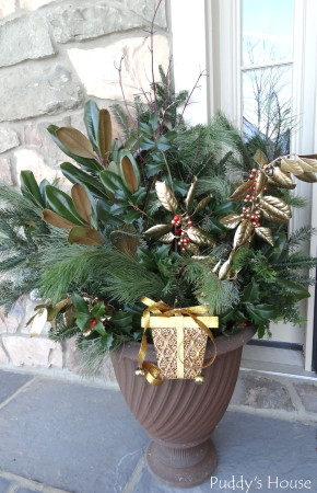 Our 2013 Christmas House - greenery in porch urns