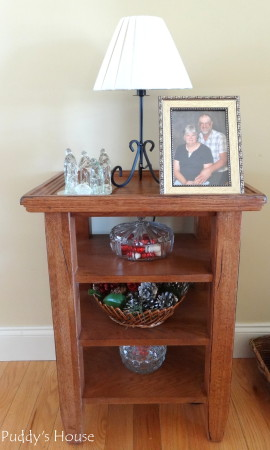 Our 2013 Christmas House - living room shelves with simple christmas additions