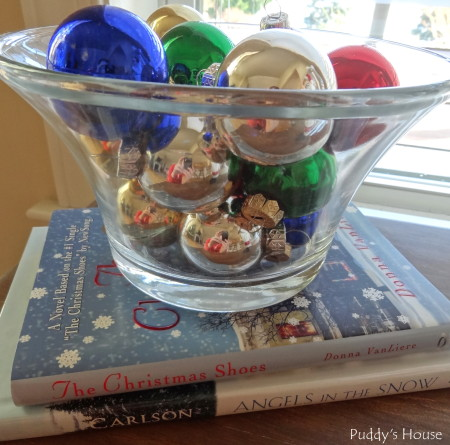 Our 2013 Christmas House - ornaments in glassware on stack of christmas books