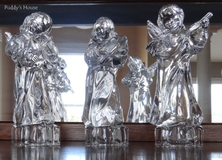 Our 2013 Christmas House - thrift shop crystal angels on buffet