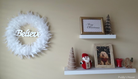 Our 2013 Christmas House - wreath and shelves in craft room