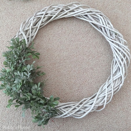 DIY Winter Wreath - greenery added