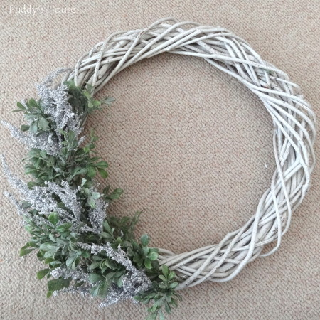 DIY Winter Wreath - greenery and silver picks added