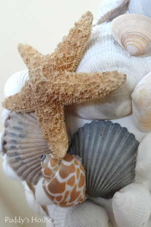 DIY Seashell Mirror - after corner with starfish