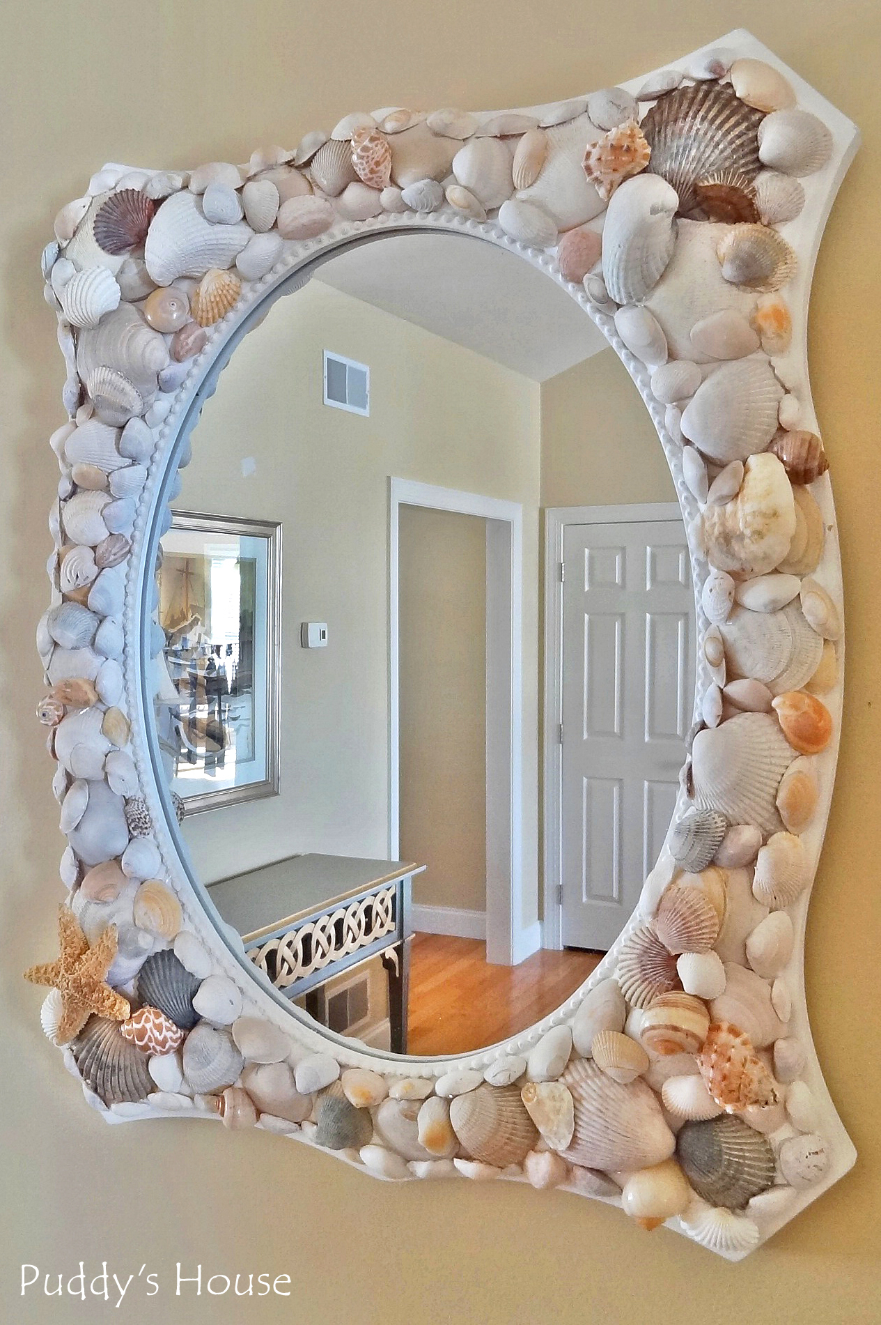 DIY Seashell Mirror - after pic in living room