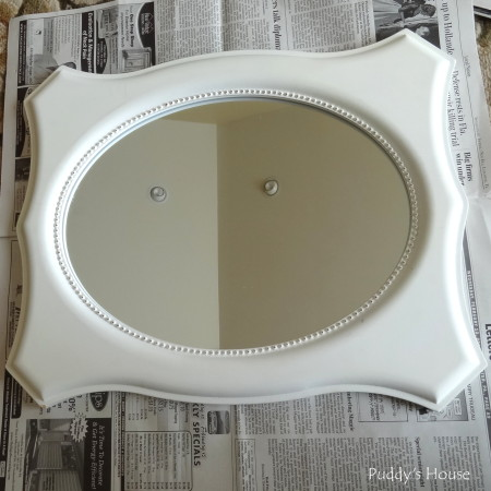 DIY Seashell Mirror - mirror before