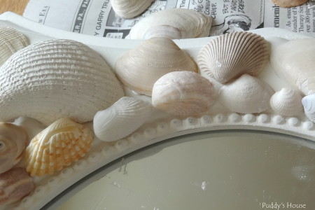 DIY Seashell Mirror - second row of shells on mirror