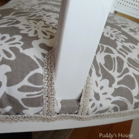 Ugly to Pretty - chair trim around arm close up