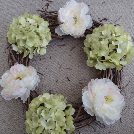 DIY Spring Wreath 2014 - hydrangeas & peonies