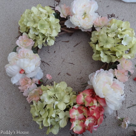 DIY Spring Wreath 2014 - hydrangeas & peonies and little flowers