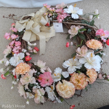 DIY Spring Wreath 2014 - thrift shop wreath before