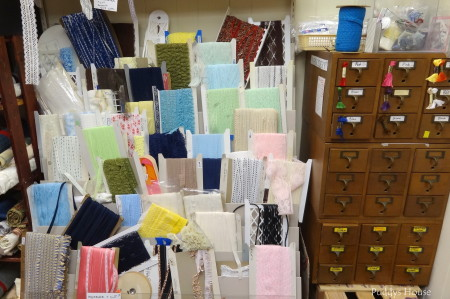 Lancaster Creative Reuse - ribbon trim and embroidery floss