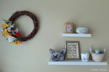 Easter Decorating - craft room shelves and spring wreath