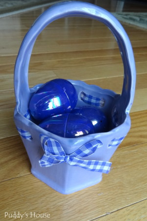 Easter Decorating - thrift shop ceramic purple basket and eggs