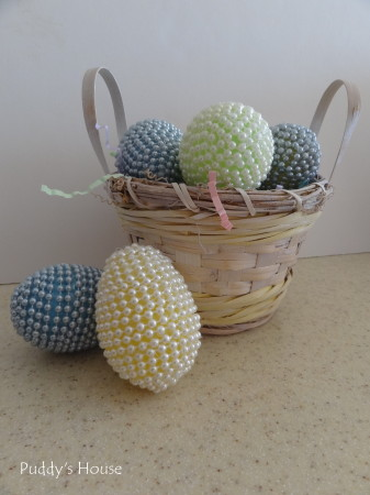 Easter Egg Crafts - beaded eggs in basket