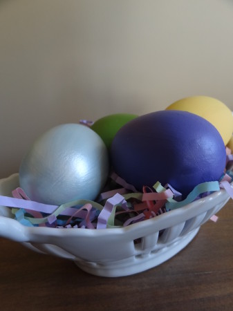 Easter Egg Crafts - painted ceramic eggs in basket