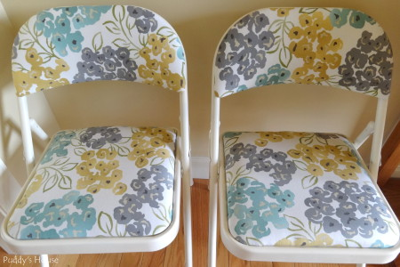 Folding Chair Makeover - After fabric close up