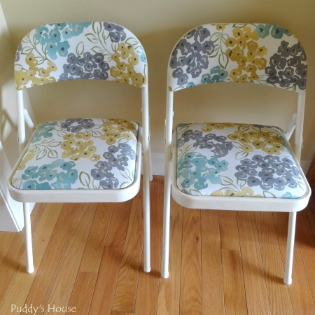 Folding Chair Makeover - After painting and fabric