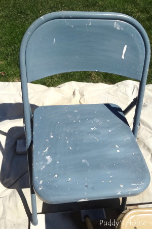Folding Chair Makeover - blue chair Before